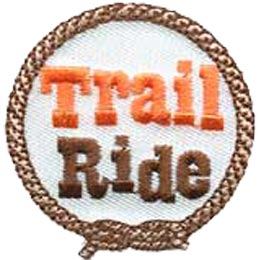 A rope with a square knot tied at the bottom forms a circle around the words Trail Ride.