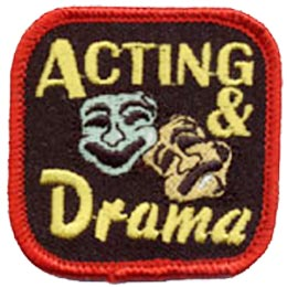Acting, Drama, Theater, Theatre, Stage, Arts, Mask, Patch, Embroidered Patch, Merit Badge, Crest, Girl Scouts, Boy Scouts, Girl Guides