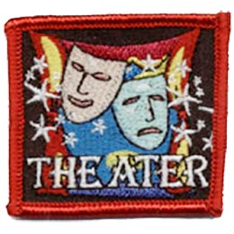 Theater, Drama, Mask, Star, Stage, Actor, Actress, Patch, Embroidered Patch, Merit Badge, Crest, Girl Scouts, Boy Scouts, Girl Guides