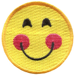A yellow circle forms a smiley face with smiling eyes, rosy cheeks, and a big U-shaped smile.