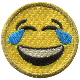 A yellow circle forms a smiley face with smiling eyes, tears, and a big laughing smile.