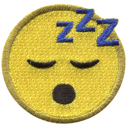 A yellow circle forms a sleeping face with closed eyes, an open mouth, and three 'Zs' decorating the top.