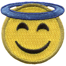 A yellow circle forms an smiling face with a halo wrapped around the top of its head.