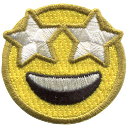 A yellow circle forms an emoji face with starry eyes and a wide smile spread over its face.