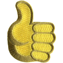 This patch shows a hand with its fingers curled towards its palm and its thumb sticking straight up.