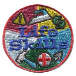 Life, Skills, Iron, Money, Health, Hammer, Caution, Internet, Patch, Embroidered Patch, Merit Badge, Badge, Emblem, Iron On, Iron-On, Crest, Lapel Pin, Insignia, Girl Scouts, Boy Scouts, Girl Guides