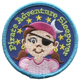 Pirate, Adventure,Girl, Star, Moon, Patch, Treasure, Map, Ship,Patch, Embroidered Patch, Merit Badge, Badge, Emblem, Iron On, Iron-On, Crest, Lapel Pin, Insignia, Girl Scouts, Boy Scouts, Girl Guides