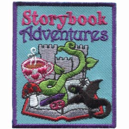 This 2.5'' rectangle patch has the words ''Storybook Adventures'' embroidered at the top. Underneath is a dragon, tea cup, mushrooms, a castle, a beanstalk, and a pencil crayon all emerging from an open book.