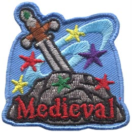 A sword is buried deep within a stone as magical stars and swirls spin about it. The word ''Medieval'' is embroidered near the bottom in red.