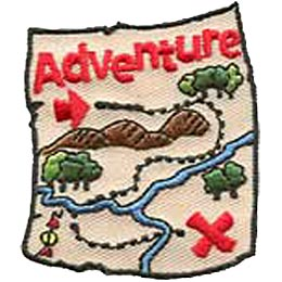 Adventure Map, Treasure, Map, Pirate, Orienteering, Patch, Embroidered Patch, Merit Badge, Crest, Girl Scouts, Boy Scouts, Girl Guides