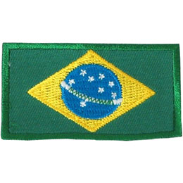 Brazil, Brasilia, Flag, Country, Patch, Embroidered Patch, Merit Badge, Iron On, Iron-On, Crest, Girl Scouts