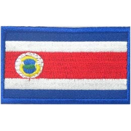 Costa Rica, San Jose, Flag, Patch, Embroidered Patch, Merit Badge, Iron On, Iron-On, Crest, Girl Scouts
