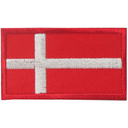 Denmark, Copenhagen, Flag, Country, Patch, Embroidered Patch, Merit Badge, Iron On, Iron-On, Crest, Girl Scouts