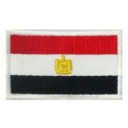 Egypt, Eagle, Pyramid, Flag, Red, White, Black, Country, Patch, Embroidered Patch, Merit Badge, Iron On, Iron-On, Crest, Girl Scouts