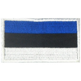 This flag is composed of three horizontal bars. Starting from the top they are blue, black and white.