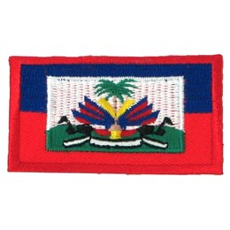 Haiti, Flag, Country, Blue, Red, Palm, Tree, Embroidered Patch, Merit Badge, Badge, Emblem, Iron On, Iron-On, Crest, Lapel Pin, Insignia, Girl Scouts, Boy Scouts, Girl Guides