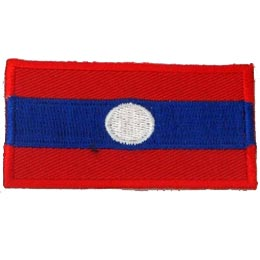 Laos, Vientiane, Flag, Country, Patch, Embroidered Patch, Merit Badge, Iron On, Iron-On, Crest, Girl Scouts