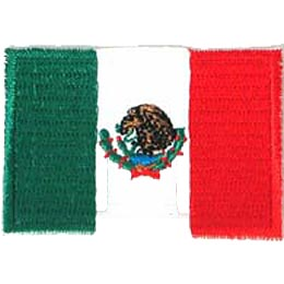 Mexico, Mexico City, Flag, Patch, Embroidered Patch, Merit Badge, Iron On, Iron-On, Crest, Girl Scouts, Boy Scouts, Gi