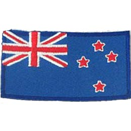 New Zealand, Kiwi, Auckland, Wellington, Flag, Patch, Embroidered Patch, Merit Badge, Iron On, Iron-On, Crest,