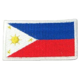 The Philippines flag is a horizontal flag bicolor with equal bands of royal blue and scarlet, and with a white, equilateral triangle at the hoist. In the center of the triangle is a golden-yellow sun with eight primary rays, each representing a Philippine province.