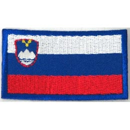 Slovenia, Ljubljana, Flag, Country, Patch, Embroidered Patch, Merit Badge, Iron On, Iron-On, Crest, Girl Scouts