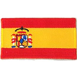 Spain, Madrid, Flag, Patch, Embroidered Patch, Merit Badge, Iron On, Iron-On, Crest, Girl Scouts