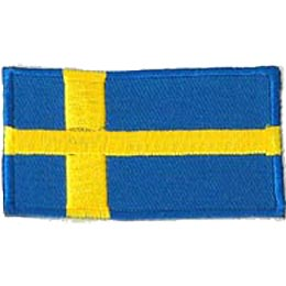 Sweden, Stockholm, Flag, Patch, Embroidered Patch, Merit Badge, Iron On, Iron-On, Crest, Girl Scouts