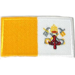 Vatican City, Italy, Rome, Pope, Roman Catholic, Flag, Country, Patch, Embroidered Patch, Merit Badge, Iron On, Iron-On, Crest, Girl Scouts