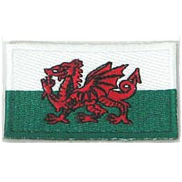 Wales, Cardiff, Flag, Patch, Embroidered Patch, Merit Badge, Iron On, Iron-On, Crest, Girl Scouts