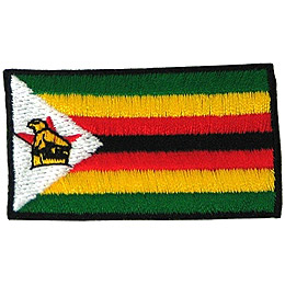 Zimbabwe's flag has horizontal bars of green, yellow, red, black and then red, yellow, green. A white triangle sits on the left with Zimbabwe's coat of arms.