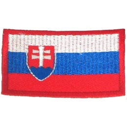 Slovakia, Bratislava, Flag, Country, Patch, Embroidered Patch, Merit Badge, Iron On, Iron-On, Crest, Girl Scouts