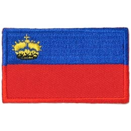Liechtenstein, Blue, Red, Crown, Principality,Flag, Country, Patch, Embroidered Patch, Merit Badge, Iron On, Iron-On, Crest, Girl Scouts