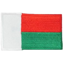 This rectangle flag patch is broken into three different coloured sections. A vertical white bar runs down the left side of the patch, taking up a third of the flag. The remaining section is divided into two even horizontal bars: a red one on the top and a green one on the bottom. This is the flag of Madagascar.