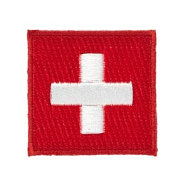 Switzerland, Geneva, Bern, Red, White, Cross, Country, Flag, Patch, Embroidered Patch, Merit Badge, Iron On, Iron-On, Crest, Girl Scouts