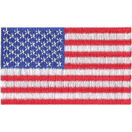 The flag of the United States of America has a blue box in the top left quarter of the flag. This section contains 50 white stars. The rest of the flag is broken up into alternating red and white stripes with 13 red stripes in all.