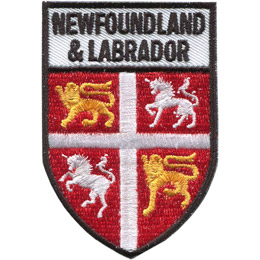 Two silver unicorns and two gold lions occupy opposing quadrants of the shield. The top rectangle holds the text 'Newfoundland & Labrador'.
