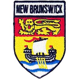 New Brunswick, St. John, Fredericton, Province, Provincial, East, Coast, Maritimes, Canada, Shield, Patch, Embroidered Patch, Merit Badge, Iron On, Ir