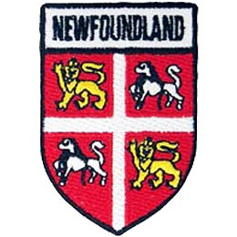 Newfoundland, St. John\'s, Rock, Maritimes, Province, Provincial, Canada, Shield, Patch, Embroidered Patch, Merit Badge, Iron On, Iron-On, Crest, Girl