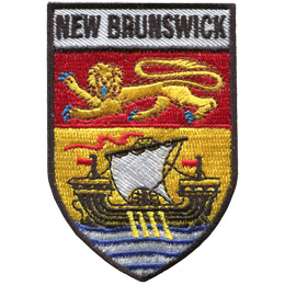 This shield shaped crest is broken up into three horizontal parts. At the top is the words \'New Brunswick\' and underneath it is the NB flag (consisting of a gold lion on a red background and a ship on a gold background).