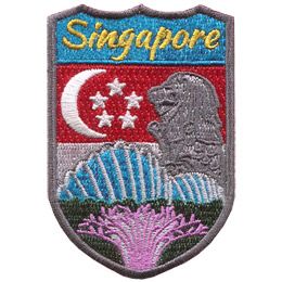 This shield shaped patch has the flag of Singapore in the background and the Merlion, shells, and coral in the front. The name 'Singapore' is at the top.