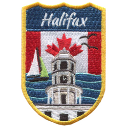 This crest displays the lighthouse of Peggy's Cove of Halifax surrounded by ocean waves, a sail boat, and gulls. In the background is the Canada flag.