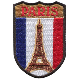 This emblem has the name \'Paris\' at the top on a gold background. In the section below the name is the blue, white, and red vertical bars of the flag of France. Front and center is the Eiffel Tower.