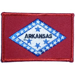 Arkansas, Little Rock, State, Flag, Patch, Embroidered Patch, Merit Badge, Iron On, Iron-On, Crest, Girl Scouts