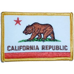 California, Sacramento, San Diego, San Francisco, Los Angeles, State, Flag, Patch, Embroidered Patch, Merit Badge, Iron On, Iron-On, Crest, Girl Scouts