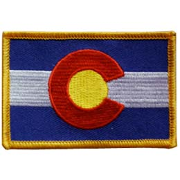 Colorado, Denver, Flag, USA, United States, Patch, Embroidered Patch, Merit Badge, Iron On, Iron-On, Crest, Girl Scouts