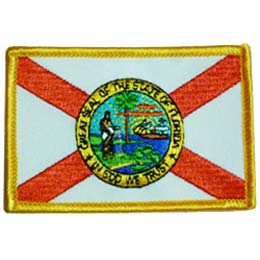 Florida, Tallahassee, State, Flag, Patch, Embroidered Patch, Merit Badge, Badge, Emblem, Iron On, Iron-On, Crest, Lapel Pin, Insignia, Girl Scouts, Boy Scouts, Girl Guides