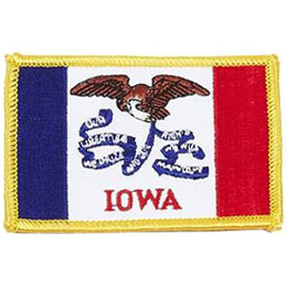 Iowa, Des Moines, Flag, USA, United States, Patch, Embroidered Patch, Merit Badge, Iron On, Iron-On, Crest, Girl Scouts