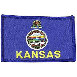 Kansas, Topeka, Flag, USA, United States, Patch, Embroidered Patch, Merit Badge, Iron On, Iron-On, Crest, Girl Scouts