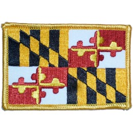 Maryland, Annapolis, State, Flag, Patch, Embroidered Patch, Merit Badge, Iron On, Iron-On, Crest, Girl Scouts