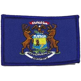 Michigan, Lansing, Flag, USA, United States, Patch, Embroidered Patch, Merit Badge, Iron On, Iron-On, Crest, Girl Scouts